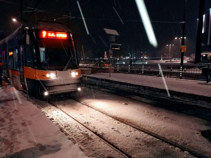 The wait Night Transportation Sofia, Bulgaria Outdoors City Public Transportation Bus Station Tram Tram Station  Deep Thoughts Mood Snowing Snow ❄