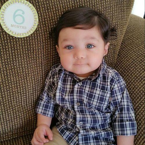 He getting so big! Danieljr 6MonthsOld Babyboy BlueEyes Handsome Cutiepie Mamasboy Lookinsharp Buttonup Cutiepie Hesperfect My_handsome_baby