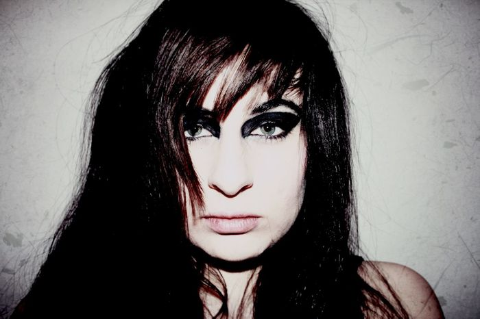 """My flat mate describe this as """"you cute, little Alice Cooper"""". Isn't that just nice. Alternative Rock That's Me Blackandwhite Fuck It Weird Psycho Makeup Selfportrait"""