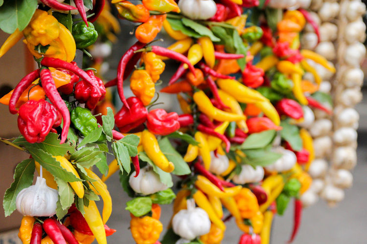 Close-up of chili peppers for sale in market