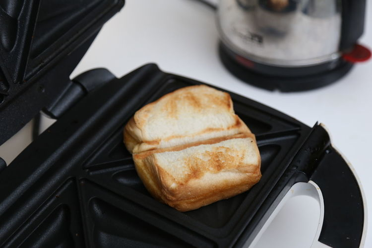 High angle view of bread in container on table