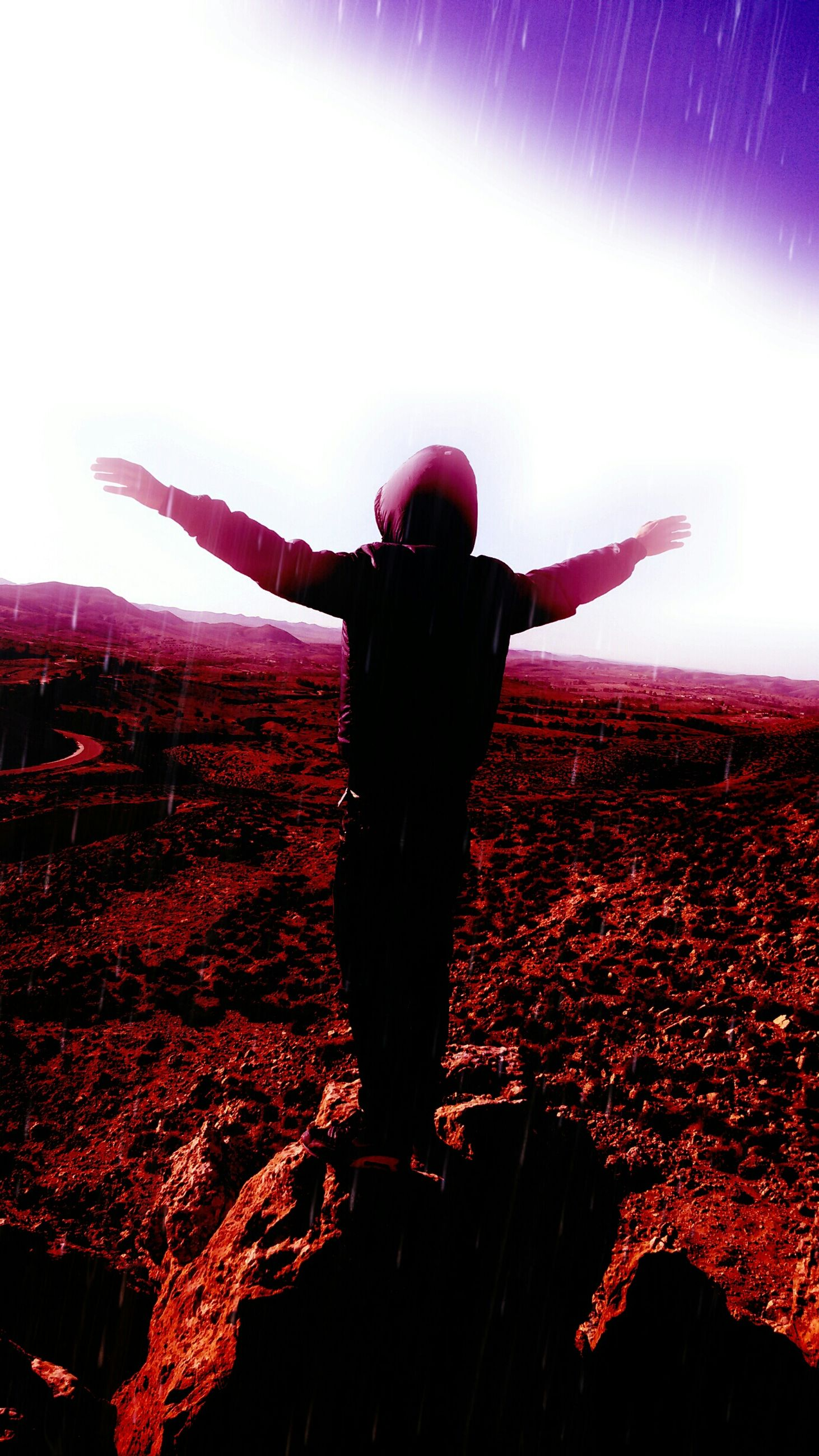 lifestyles, leisure activity, standing, silhouette, full length, person, arms raised, arms outstretched, rear view, sunset, sky, casual clothing, enjoyment, carefree, men, outdoors, three quarter length, clear sky