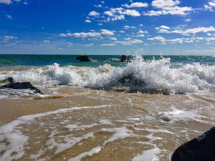 Beach Wave Sea Water Horizon Over Water Sky Scenics Surf Shore Tranquil Scene Beauty In Nature Nature Tranquility Non-urban Scene Idyllic Cloud - Sky Day Cloud Remote Blue