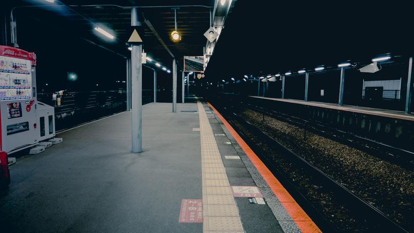 Illuminated Japan Japan Photography Mode Of Transport Night No People Outdoors Public Transportation Rail Transportation Railroad Station Railroad Station Platform Railroad Track Train - Vehicle Transportation