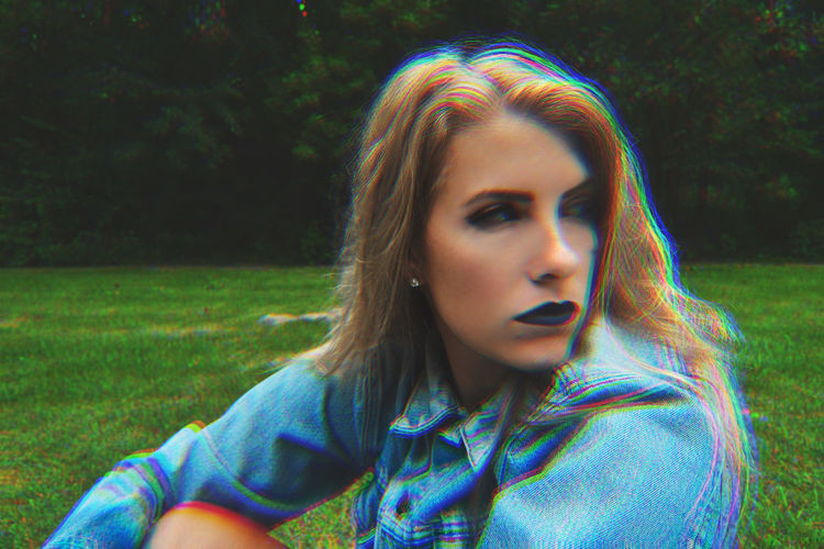 Black Lipstick  Blonde Trip Clothing Girl Glare Holographic Jean Jacket Portrait Photography