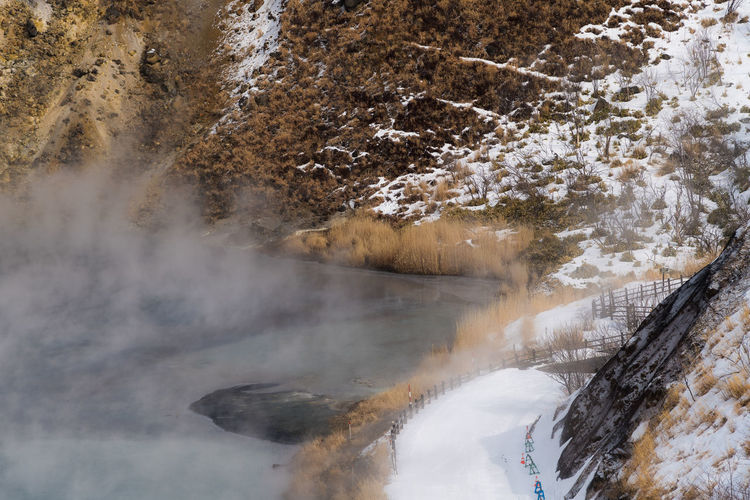 High Angle View Of Hot Spring By Mountain