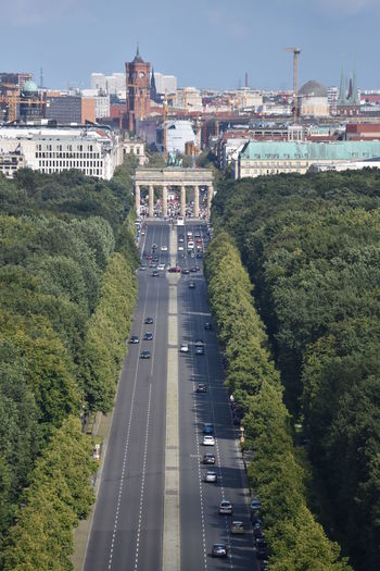 Berlin-Mitte Brandenburg Gate Siegessäule  Siegessäule Berlin Architecture Brandenburger Tor Building Exterior Built Structure City Cityscape Day High Angle View Nature No People Outdoors Road Sky Transportation Tree