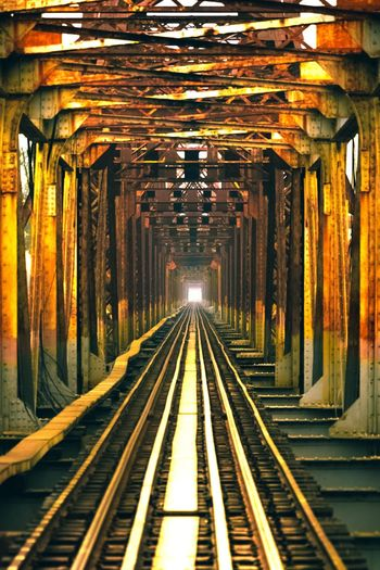 View of railroad tracks in subway