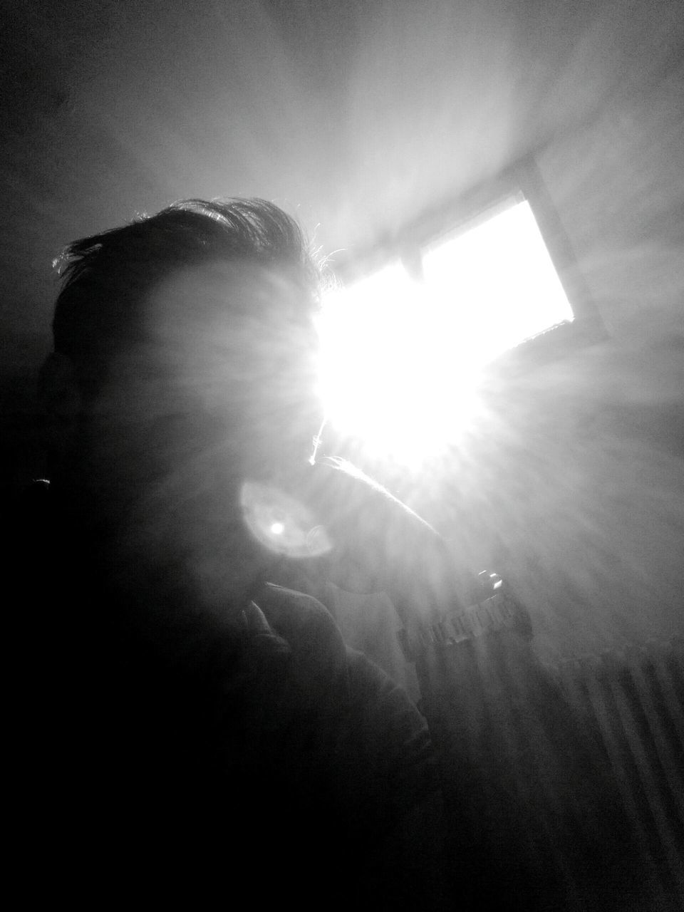 lens flare, sunbeam, light beam, men, sunlight, sun, real people, indoors, one person, music, day, people