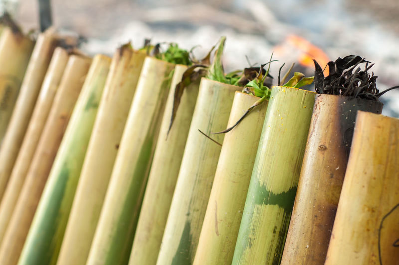 Lemang is a traditional rice cooked with bamboo