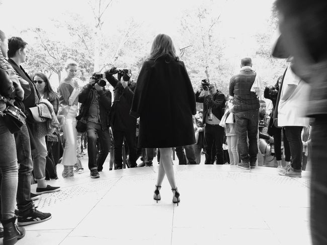 A Fashionista poses for Photographers outside Palais De Tokyo at Paris Fashion Week SS16 shot on IPhone 6s