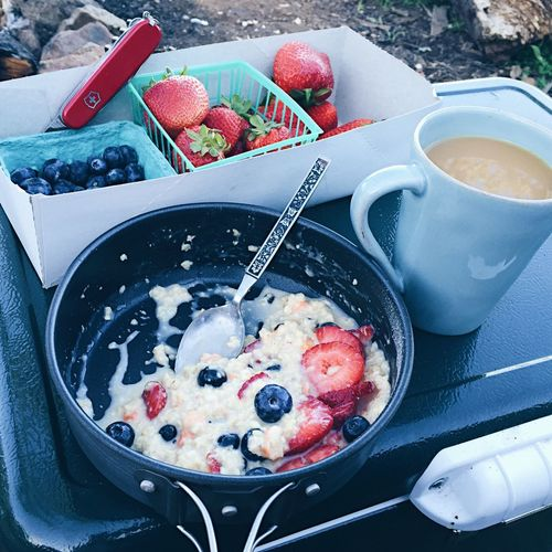Camp Breakfast Blueberry Fruit Strawberry Healthy Eating Freshness Berry Fruit No People Bowl Raspberry Food Day Oatmeal Swiss Army Knife Camping Breakfast Fresh Produce
