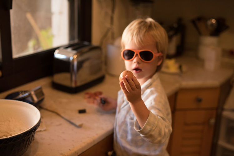 Be. Ready. Cooking Blond Hair Child Childhood Cool Dude Food And Drink Gingerbread Innocence Pyjamas Sunglasses