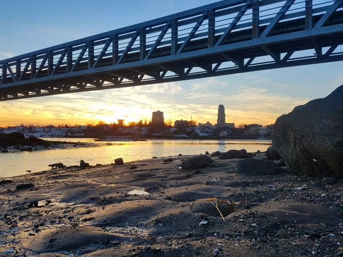 (2/19/2018) Bridge - Man Made Structure Connection Architecture Built Structure Sunset Engineering Cityscape Urban Skyline Sky Water Outdoors No People