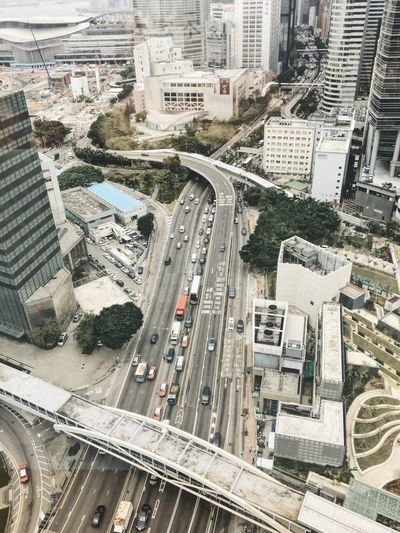 Hong Kong City Building Exterior Architecture Built Structure High Angle View Transportation Mode Of Transportation Street Road Building Car City Life Highway