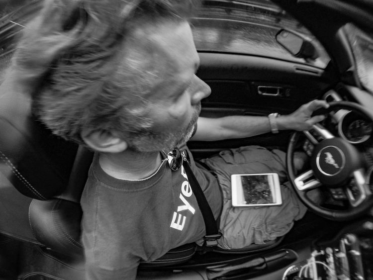 Black And White Car Convertible Cruisin Day Driving EyeEm Shirt Ford Ford Mustang Having Fun Hawaii Land Vehicle Mustang Oahu On The Road One Person Open Top Outdoors Rain Real People Self Portrait Sports Car The Drive Transportation USA Let's Go. Together. Second Acts