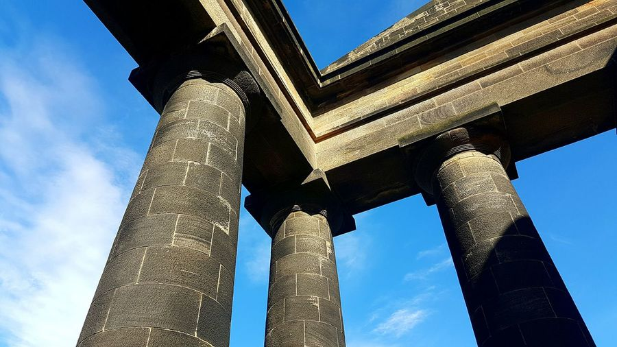 Low Angle View Architecture Built Structure Architectural Column SUPPORT Column Blue Connection Sky Engineering Outdoors Day History Concrete Arch Bridge Supported Cloud - Sky Architectural Feature No People