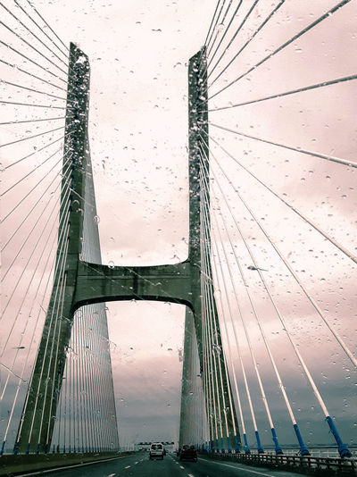 Built Structure No People Low Angle View Architecture Complexity Bridge - Man Made Structure Lisboa Rainy Days Windshieldview Bridges Pontevascodagama Igersportugal Instagramer Umeugram Mobilephotography
