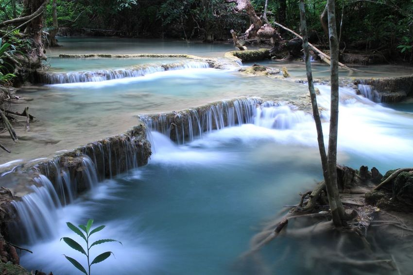 Nature On Your Doorstep Waterfall on Kanchanaburi Beautiful Nature Waterclean Good Weather Traveling