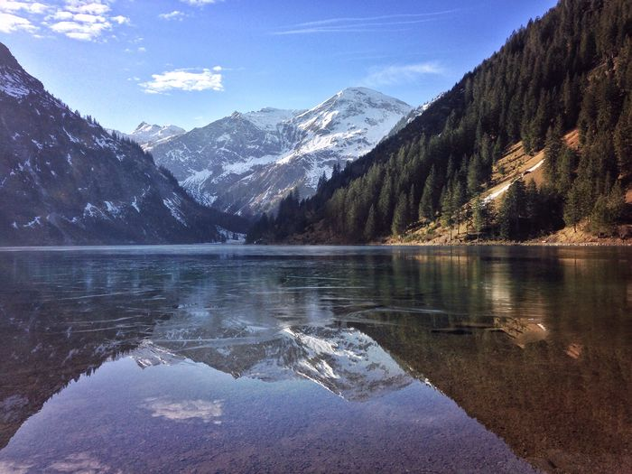 Austria Beauty In Nature Cold Temperature Day EyeEm Nature Lover Geology Geometry Horizontal Symmetry Landscape Majestic Mountain Mountain Range Nature Non-urban Scene Physical Geography Remote Scenics Snow Symmetry Tannheimer Tal Tranquil Scene Tranquility Vilsalpsee The Great Outdoors - 2016 EyeEm Awards