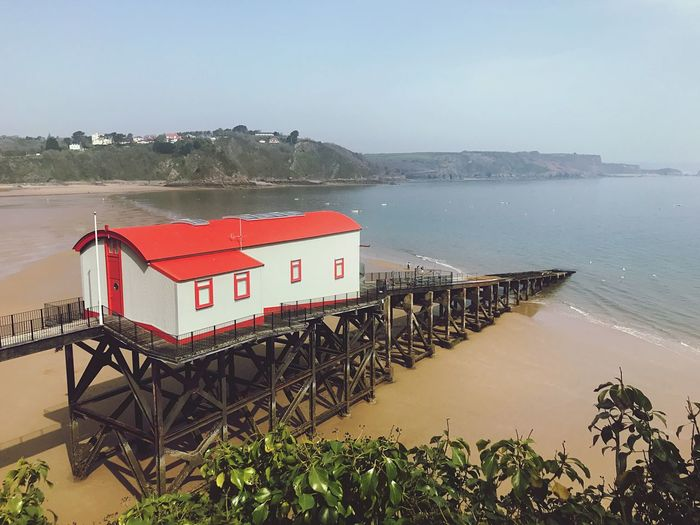 Lifeboat House Lifeboat Station... RNLI Tenby Coast Guard Water Sea Sky Nature Beach Land Plant