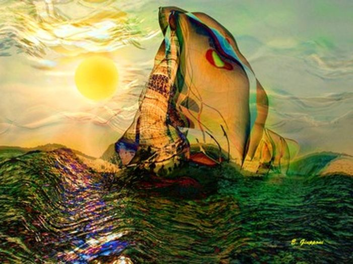 Sailing Back Home, from the Boats Collection. Original art by E. Giupponi Art