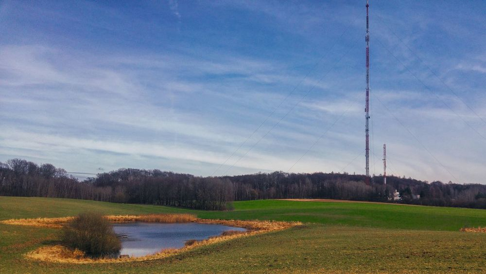 Sky Nature No People Growth Outdoors Tree Landscape Scenics Agriculture Beauty In Nature Day Puszcza Bukowa Blue Blue Sky And Clouds Green Green Grass Global Communications Connection Television Industry Antenna - Aerial Telecommunications Equipment Tall - High Pond Pond Water Szczecin