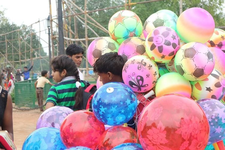 Balloons Multi Colored Child Childhood Girls Boys Balloon Children Only Togetherness Celebration People Day Real People Lifestyles Outdoors Friendship Holi Adult