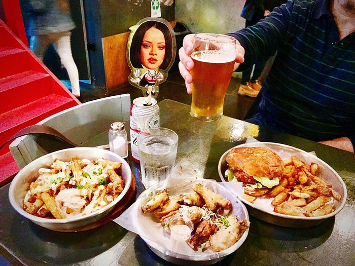 Dinner Beer Time Beer Food And Drink Food Table Freshness Ready-to-eat Indoors  Plate High Angle View Bowl Glass Incidental People Real People Drink Wellbeing Meal Choice Healthy Eating Variation
