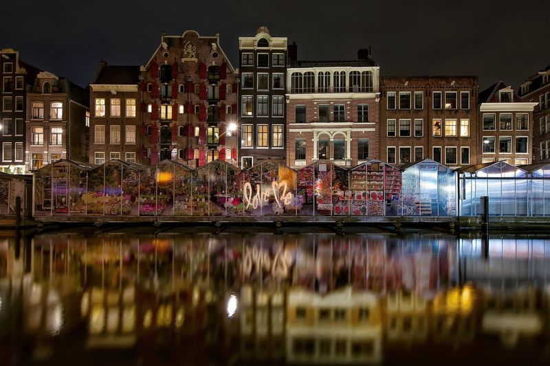 Amsterdam Amsterdamcity Architecture Building Building Exterior Built Structure Canal City City Life Cityscape Illuminated Love Love ♥ Multi Colored Night Outdoors Reflection Residential Building Residential District Residential Structure River Sky Water Waterfront The Architect - 2016 EyeEm Awards