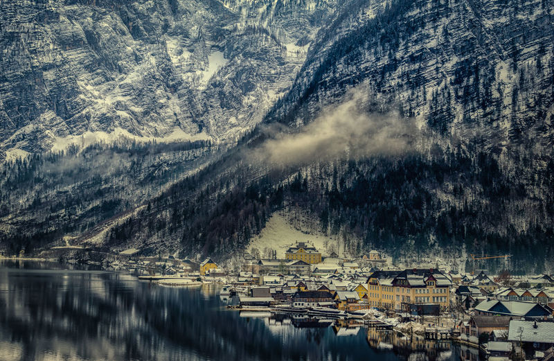 Architecture Beauty In Nature Built Structure Cold Temperature Day Hallstatt, Austria Lake Mountain Nature No People Outdoors Reflection Scenics Snow Tree Water Winter