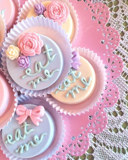 Eat Me Pastries Cookies Tea Party Pastels Pretty Feminine  Chocolate Covered