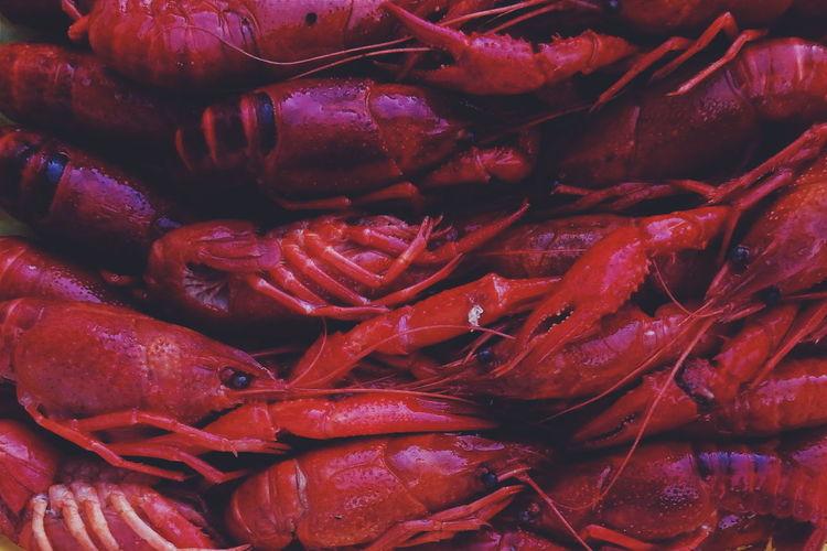 Full frame shot of boiled crayfish