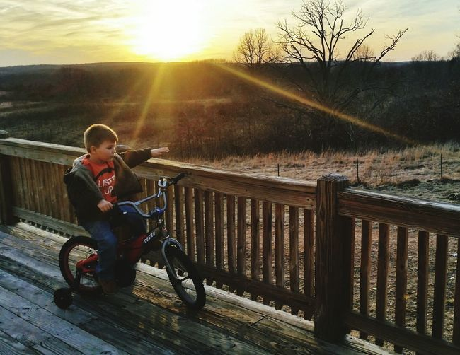 Toddler  Family❤ Home Fun Winter Missouri Ozarks United States Sunset Sunlight One Person People Outdoors Sun Riding Lifestyles Full Length