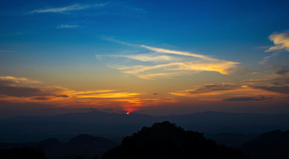Landscape sunset over the mountains in northern thailand