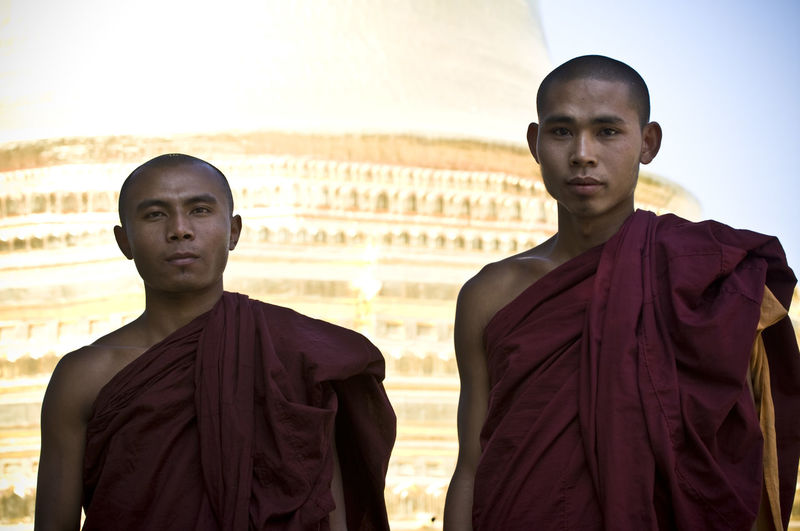 Buddhism Buddhist Buddhist Monks Burma Check This Out Day Focus On Foreground Front View Jacket Leisure Activity Lifestyles Mid Adult Mid Adult Men Monk  Monks Myanmar Outdoors Person Portrait Sky Smiling Standing Toothy Smile Traveling Warm Clothing