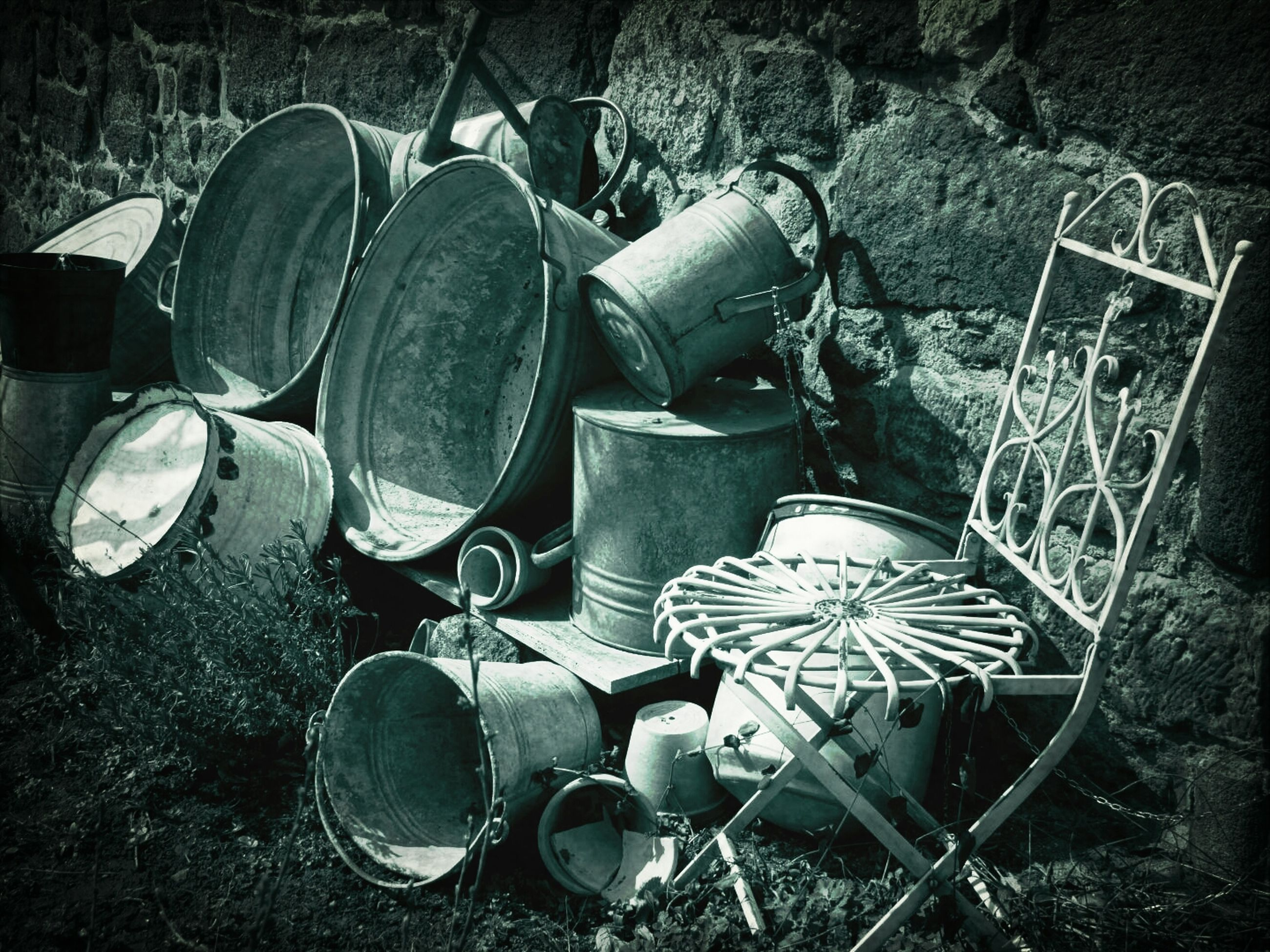 abandoned, obsolete, old, metal, damaged, still life, large group of objects, run-down, high angle view, rusty, deterioration, no people, stack, abundance, equipment, old-fashioned, bad condition, day, close-up, broken