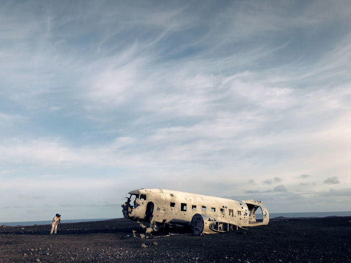 Iceland Nature Travel Travelling Airplane Broken Cloud - Sky Damaged Horizon Land Landscape Landscape_photography Outdoor Photography Outdoors People Photographer Photography Ruined Sand Sky Skyscraper Standing Sunset Traveler White A New Perspective On Life
