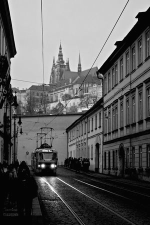 Architecture Black & White Black And White Black And White Photography Blackandwhite Blackandwhite Photography Building Exterior Built Structure City Day Land Vehicle Light And Shadow Mode Of Transport No People Outdoors Public Transportation Sky Street Tram Transportation