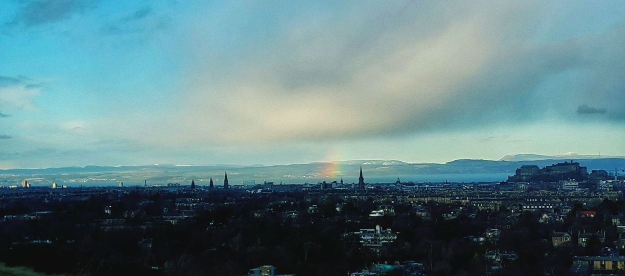 Nature Edinburgh Walking Around Colorful Urban Landscape Fields Winter Rainbow