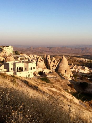 Architecture Balloons Beauty In Nature Built Structure Cappadocia Clear Sky Flying Göreme Hot Air Balloon Hotairballoons Landscape Morning Mountains Nature Nature No People Outdoors Scenics Tranquility Turkey