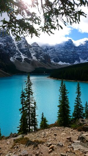 Lake Moraine Breathtaking Awe Inspiring Sky, Mountains, Lake Mother Nature Turquoise Water Mountain Range Ever Green Scenic Lookout Scenic Landscapes Tranquil Scene View Point