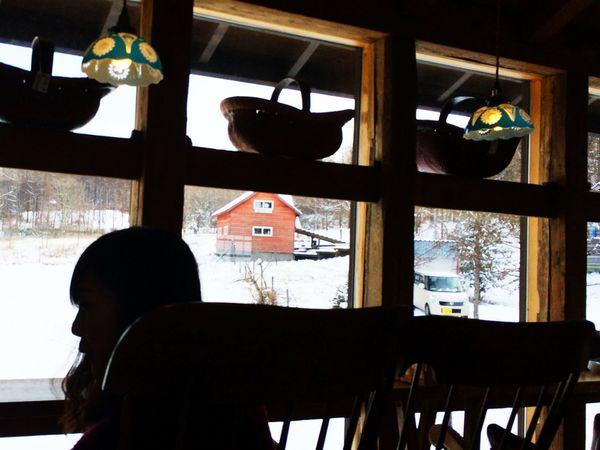 Japan Hokkaido Sapporo Right Cafe Snow Chair Girl Woman House Red Blue White