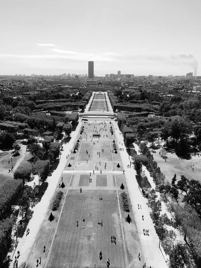 Aerial view of champ de mars against sky