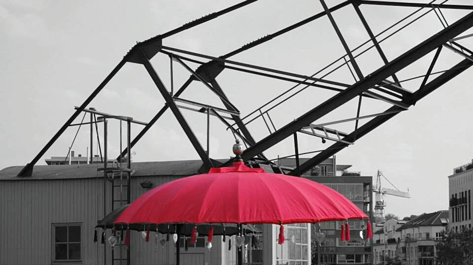 Umbrella Red Filter Blackandwhite Taking Photos Relaxing Streetphotography Industrial Landscapes