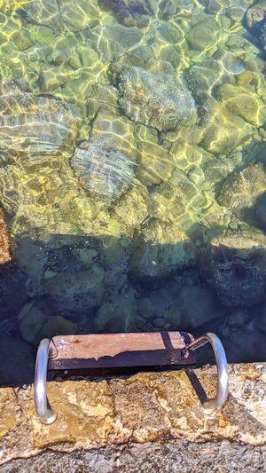High angle view of rusty metal on rocks