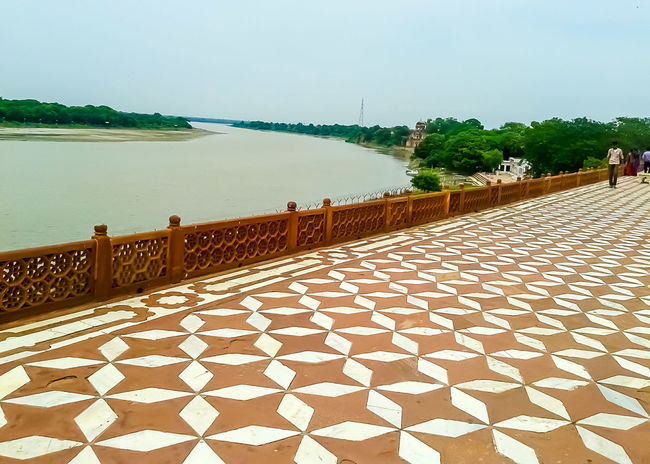 Backyard of tajmahal River View Wonders Of The World Ancient Civilization Indianstories Art Is Everywhere EyeEmNewHere Marble Travel Destinations Taj Mahal Bending River Tile Art Pattern, Texture, Shape And Form