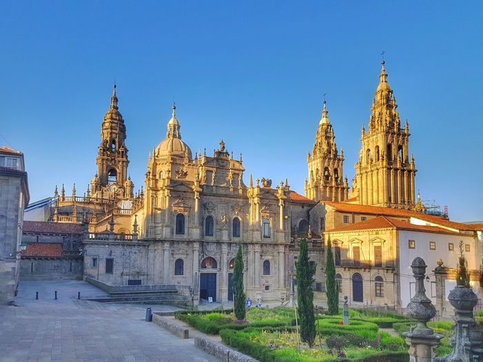 Sunset at the cathedral of santiago de compostela