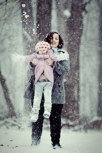 snow days Snow Snowing Mother Daughter  Mother & Daughter Family Love Winter White Snowflakes Snowfall Jump Motion Child Playing Fun Joy Togetherness Cute Adorable Bestfriend Duo