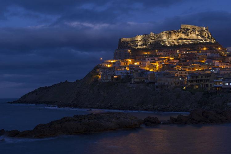 Blue Hour Castelsardo Italia Mare Ora Blu Italy Lighting Sardegna Sardinia Sea
